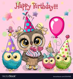 Illustration about Birthday card with Cute Owls with balloon and bonnets. Illustration of greeting, childbirth, birthday - 154625912 Happy Birthday Owl, Free Happy Birthday Cards, Happy Birthday Greetings Friends, Birthday Wishes For Kids, Happy Birthday Celebration, Birthday Wishes And Images, Happy Birthday Pictures, Birthday Blessings, 21 Birthday