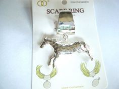 Horse Pendant Scarf Ring Silver Tone Hammered Metal New In Package