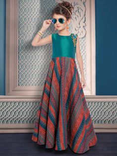 Shop Green orange printed silk gown online from G3fashion India. Brand - G3, Product code - G3-GGO0529, Price - 3695, Color - Green, Orange, Fabric - Silk,