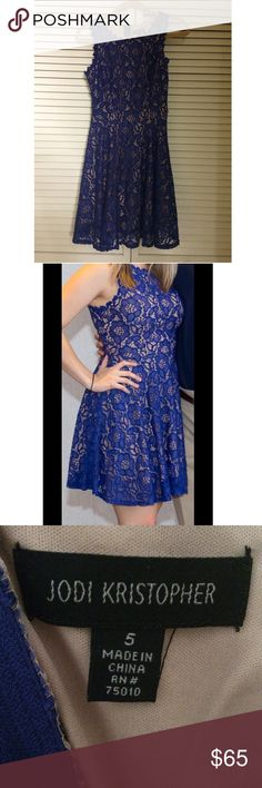 Royal Blue and Nude Lace Dress Fabulously classy and adorable royal blue and nice lace dress!  Worn only once to an inside luncheon. Absolutely no signs of wear! In perfect condition. Comment any questions! Jodi Kristopher Dresses Midi