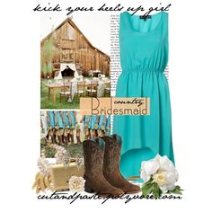country bridesmaid, created by cutandpaste on Polyvore, wedding, events, woman style, cowboy boots, simple party style