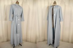 Vintage 1930s Dressing Gown - 30s Housecoat, Sky Blue Wool 1940s Plus Size Robe, 40s Old Hollywood Glamour Lounge Wear by RockabillyRavenVtg on Etsy