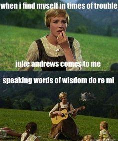 Lmao julie andrews sound of music humor Music Memes Funny, Music Puns, Movie Memes, Music Humor, Funny Puns, Hilarious Memes, Sound Of Music Meme, Wisdom Meme, Misheard Lyrics