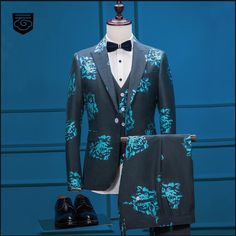 >> Click to Buy << Dark Blue 3D Floral Style Suit Men's Suits Blazers Male Singer Stage Slim Fit Groom Wedding Prom Business Mens Tuxedo 3 Piece #Affiliate