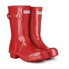 Hunter Rain Boots- Short,  glossy red Short red Hunter rain boots, worn a few times. Great condition Hunter Boots Shoes Winter & Rain Boots