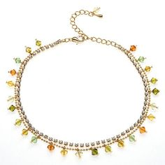 "Fall Muti-Colored Faceted Swarovski Crystal with Cubic Zirconia CZ on Micron Gold Plated Brass #Anklet Bracelet 8.5""-10.5"""