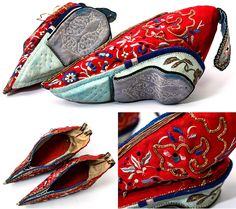 lotus shoes from china | Antique Embroidered Silk Shoes for Bound Feet, China Lotus Feet Shoes ...