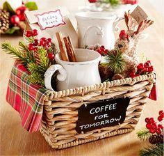Gift basket with coffee and mugs from Pier 1 Geschenkkorb mit Kaffee und Tassen von Pier 1 Diy Christmas Baskets, Christmas Gifts For Mom, Homemade Christmas Gifts, Homemade Gifts, Christmas Diy, Fall Gifts, Homemade Gift Baskets, Xmas, Christmas Budget