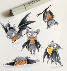 Scary fruitbats   #art #copic #traditional #bats #fruitbat by craziiwolf96