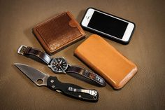 dig-that: Minimal EDC for today: Wenger Comando DayDate XL Spyderco Paramilitary 2 iPhone 5 with Incipio case and leather sleeve by Judit Ducsai (Incipio for more protection, leather sleeve for more style) bifold wallet by Judit Ducsai
