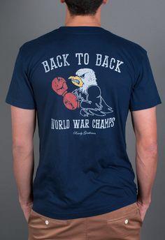 56bd0fcd Back To Back World War Champs Short Sleeve Pocket Tee Shirt - Eagle Edition  - Navy