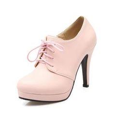 c95368c8d7b6 BONJOMARISA 2019 Spring Autumn Four Colors Lace Up Deep Pumps Platform Shoes  Woman High Heels Big Size 34-43 OL Lady Shoe