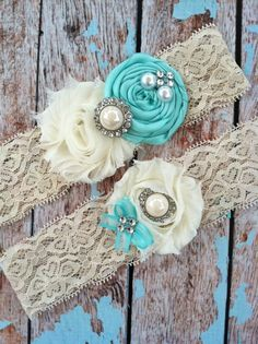 biege, cream, and tiffany blue hairbands as gift for bridesmaids, or can use as a garter
