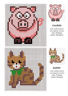 Pig and Cat hama perler beads pattern