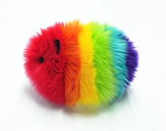 Rainbow the Guinea Pig Stuffed Animal Toy Plushie - 6x10 Inches Large Size