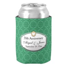 30th Anniversary Wedding Anniversary Green Z08 Can Cooler