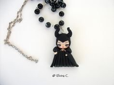 Maleficent necklace polymer clay by ElviraCCreazioni on Etsy
