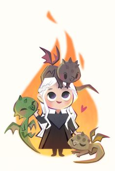 Very cool and cute fan art of Game of Thrones character Daenerys and her dragons Drogon, Viserion, and Rhaegal. Drogon Game Of Thrones, Art Game Of Thrones, Dessin Game Of Thrones, Game Of Thrones Drawings, Game Of Thrones Tumblr, Game Of Thrones Facts, Game Of Thrones Quotes, Game Of Thrones Funny, Game Of Thrones Cartoon