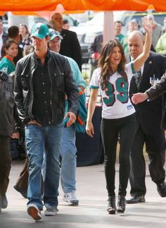 Fergie and Josh Duhamel arrive at Dolphin Stadium to watch the Dolphins play against the Pittsburgh Steelers in Miami, Florida.
