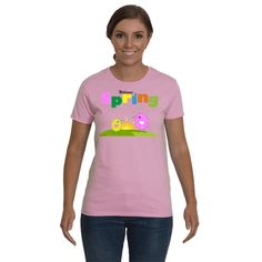 Funny Holiday Funny t-shirt, Funny sayings Welcome Spring Graphic tee. Adult tees, shirts for Women.