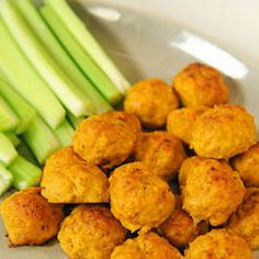 Mini Spicy Buffalo Chicken Balls with Blue Cheese and Hot Sauce you can use veggie chicken !!