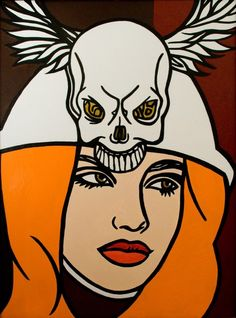 """Dark Angel, Chooser of the slain"". Painted in Golden acrylic by artist, Lennie Lee in 2010. The painting was Inspired by vivid dreams, under the influence of morphine, two days after open heart surgery. It was exhibited at The Other Art Fair in 2011 and was reproduced on a billboard in Box Park, off Brick Lane."