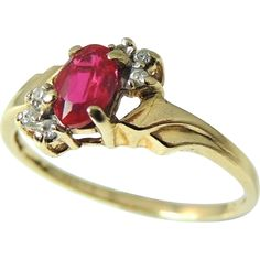 Ruby Diamond Ring 10k Delicate Setting Perfect Gift