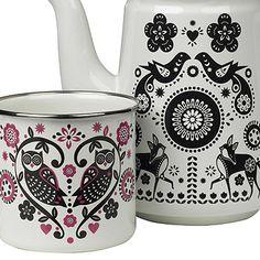 Folklore enamelled tableware