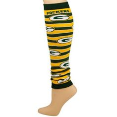 Green Bay Packers Ladies Green-Gold IQ Striped Leg Warmers