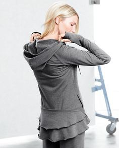 Face it some days you just wanna wear sweats.  This peplum adds style to a boring hoodie.