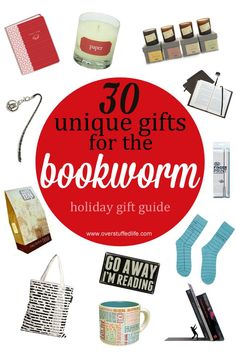 Do you have a book lover on your Christmas gift list? One of these 30 unique book themed gifts is sure to delight them! #overstuffedlife: