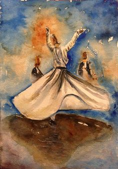 To Love is human. To feel Pain is human. Yet to still Love despite the Pain is pure Angel. Mystic Symbols, Whirling Dervish, Islamic Paintings, Islamic Art Calligraphy, Persian Calligraphy, Watercolor Artwork, Pictures To Paint, Art Drawings, Illustration Art