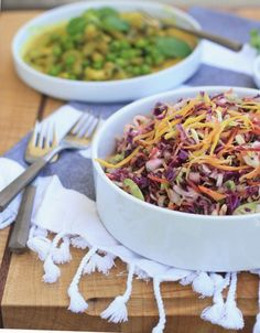 Colorful Indian cabbage salad with mustard seed and lemon dressing.