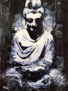 «Buddha on newspaper», acrylic on canvas, 80 x 60 cm, 北京 2016
