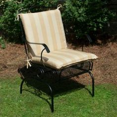 Plantation Patterns Hampton Bay Roux Stripe Mid Back Outdoor Chair Cushion available at The Home Depot.