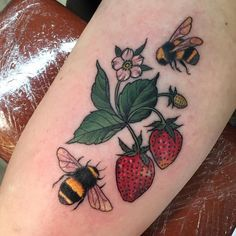 Image result for strawberries and bumble bee tattoo