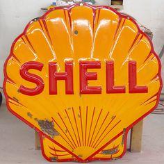 "old vintage signs | Shell Oil 1941 ArtKraft ""Clamshell"" Sign Restoration"