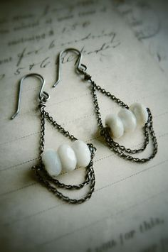 Trapeze, Vintage Mother of Pearl  Oxidized Sterling Chandelier Earrings