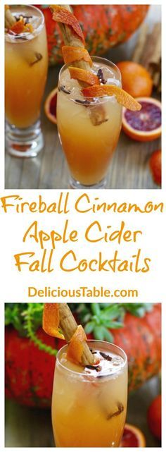22 inspired fall drinks you need to know about Fireball Cinnamon Apple Cider Fall Cocktails are an easy refreshing orange, cinnamon, clove, and apple cider drink recipe for Thanksgiving or fall entertaining (also a fantastic Halloween party recipe)! Fall Cocktails, Holiday Drinks, Christmas Drinks, Cocktail Drinks, Cocktail Recipes, Fireball Cocktails, Cider Cocktails, Vodka Drinks, Winter Drinks