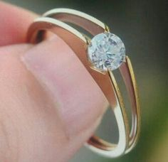 Gold Stainless Steel Engagement Ring