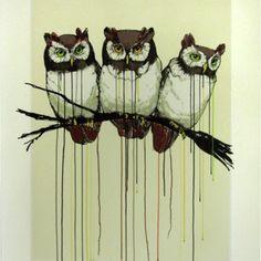 drip art owls (artist unknown)