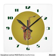 Saxophone cartoon Wall Clock