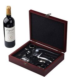 Red Wine Accessory Set 9 Pieces - Stainless Steel Red Wine Bottle Opener Wing Corkscrew,aerator, Thermometer, Stopper, and Accessories Set with Dark Cherry Wood Gift Box