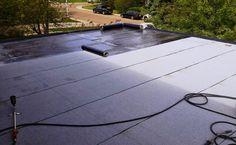 Roof replacement in progress - SBS cap sheet being installed. Flat Roof Replacement, Flat Roof Repair, Bragg Creek, Calgary, Building, Outdoor Decor, Sign, Google, Image