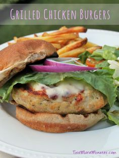 Perfect for the weekend!  Grilled Chicken Burgers   Two More Minutes