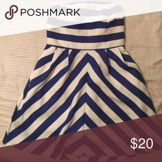Blue & White stripe strapless dress Super cute on, gently worn cute with heels or sandals!! Nice for summer events! Outback Red  Dresses Strapless