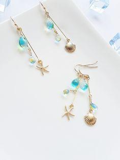 夏に!.+:。 summer drop~夏色ドロップのアシンメトリー。:+. Ear Jewelry, Cute Jewelry, Jewelry Accessories, Jewelry Design, Jewelry Making, Jewellery, Handmade Wire Jewelry, Earrings Handmade, Beaded Earrings