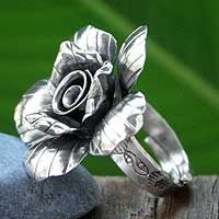 Silver cocktail ring, 'Forever Jasmine' from @NOVICA, They help artisans succeed worldwide.