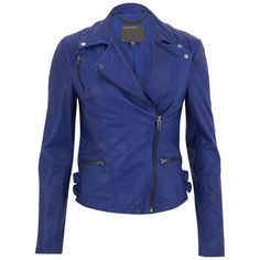 Muubaa Women's Ollon Quilted Leather Biker Jacket - Oxford Blue found on Polyvore