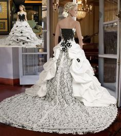 big wedding dress with a corset and long train | gowns with long train: black and white wedding gown with lace, corset ...